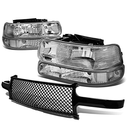 For Chevy SIlverado/Suburban/Tahoe Pair of Chrome Housing Clear Corner Headlight+Black Meshed Front Grille