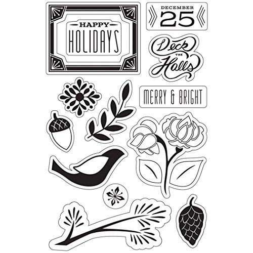 Hero Arts CL791 Basic Grey Evergreen Clear Stamps By Hero Arts-Merry & Bright Holidays
