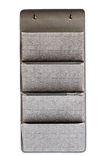 4 Pocket Fabric Wall Organizer for House, Closet Storage and Office with Wall Mount or for Hanging Over the Door. WallPockets by EW. [Gray]