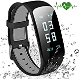 Abandship Fitness Tracker, Fitness Tracker Watch with Slim Touch Screen and Wristbands, Wearable Activity Tracker as Pedometer Sleep Monitor for Android and iOS (Black)