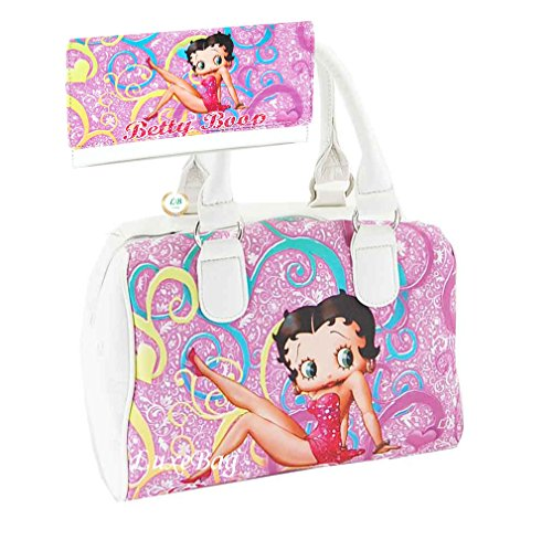 Betty Boop Satchel Purse Wallet Set, Pink with Floral Pattern, Plus Key (Betty Boop Top Zip)