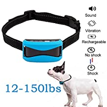 [2018 Upgrade ] No Barks Dog Collar, USB Rechargeable Adjustable Rainproof Fluorescence Bark Collar with Vibration and No Harm Shock For Small Medium Large Dog For Dog Excessive Barking Control