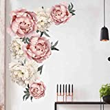 Peony Flowers Wall Decal, Floral Vinyl Wall Sticker,Blooming Roses Wall Decor, Colorful Girls Love Decal, Nursery Wall Art,Wedding Praty Decoration,Nursery Bedroom Living Room Wall Decor (A)