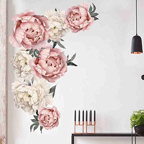 Quaanti Pink Peony Flowers Wall Decal,Removable Floral Vinyl Wall Sticker,Blooming Roses Wall Decor,Colorful Girls Love Decal,Nursery Wall Art,Wedding Praty Bedroom Living Room Decoration (Multicolor) ()