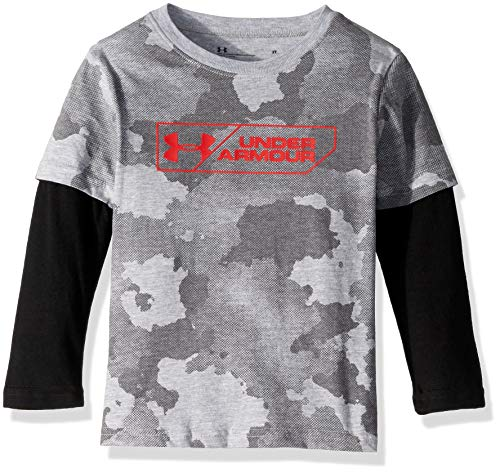 - Under Armour Boys' Toddler Long Sleeve Slider Tee Shirt, True Grey Heather camo 2T