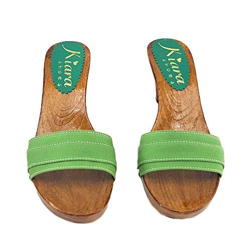 kiara shoes Green Clogs Italian Shoes Comfortable Heel 8 cm -K5101 Verde ur13n9