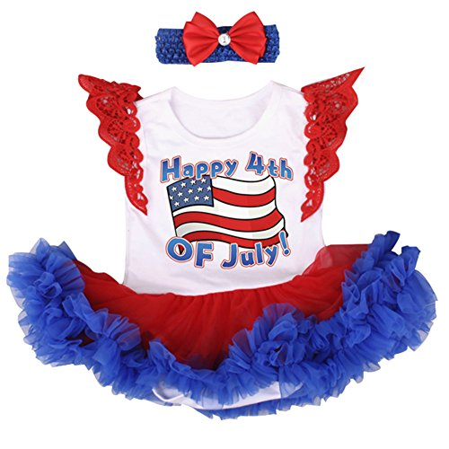OBEEII 4th of July Baby Toddler Girl American Flag Romper Tutu Dress Headband Leg Warmers Shoes Clothes Outfits XL