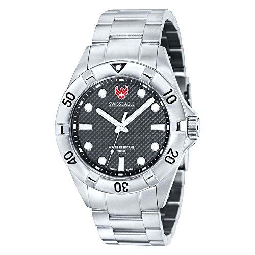 Swiss Eagle SE-9013-11 Mens Dive Pontoon Black Steel Watch