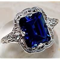 elegantshop Huge Natural 3.5Ct Tanzanite 925 Silver Ring Women Wedding Engagement Size6-10 (9)