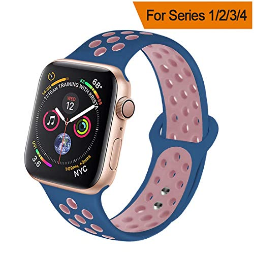 HILIMNY Compatible for Apple Watch Band 42MM/44MM, Soft Silicone Sports Replacement Compatible for iWatch Band Apple Watch Series 4/3 / 2/1, S/M, Midnight Blue Light Pink