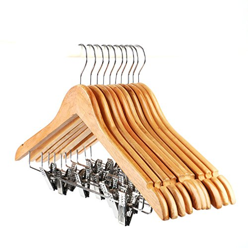 Wood Skirt Hangers (Tosnail 10-Pack Wooden Pant Hanger, Wooden Suit Hangers with Steel Clips and Hooks, Natural Wood Collection Skirt Hangers, Standard Clothes Hangers)