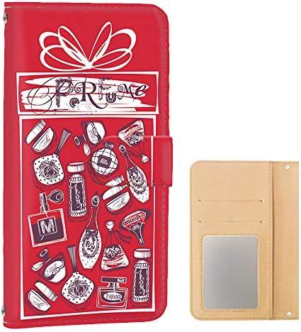 DIGNO V KYV42 : Qua phone QX KYV42 スマホケース 手帳型 ミラータイプ [コスメ・レッド] りぼん 香水 パヒューム ディグノ ブイ:キュアフォン キューエックス スマホカバー 携帯ケース [FFANY] cosmetic 142@02m