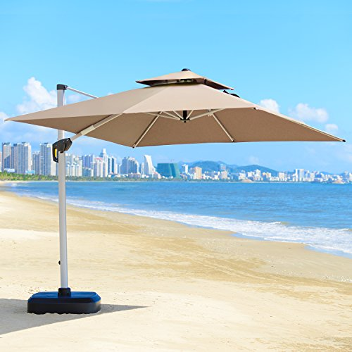 Leaf Rectangular - PURPLE LEAF 10 Feet Double Top Deluxe Square Patio Umbrella Offset Hanging Umbrella Cantilever Umbrella Outdoor Market Umbrella Garden Umbrella, Beige