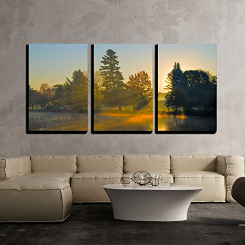 (wall26 - 3 Piece Canvas Wall Art - Autumn Sunrise at a Lake, Sun is Shining Through Trees and Morning Fog - Modern Home Decor Stretched and Framed Ready to Hang - 16