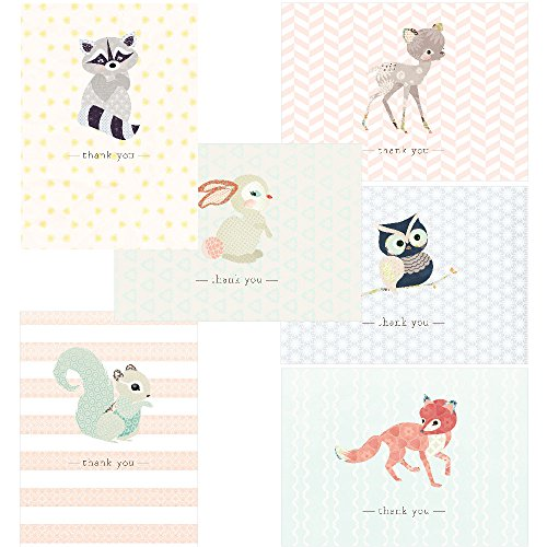 60 Postcards - 4.25 x 6 - Woodland Animals Thank You - 6 Different Images