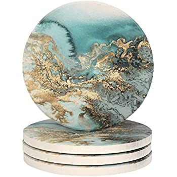 Lahome Marble Pattern Coasters - Round Drinks Absorbent Stone Coaster Set With Ceramic Stone and Cork Base for Kinds of Mugs and Cups (Blue, 4)