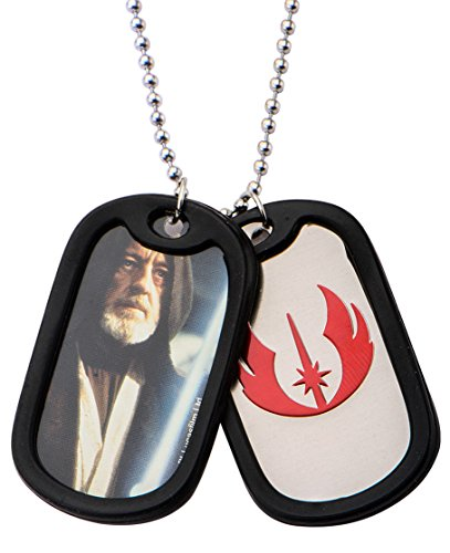 Star Wars Obi-Wan Kenobi & Jedi Symbol Double Dog Tag Pendant Steel Necklace -