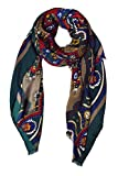Peach Couture Vintage Look Elegant Floral Paisley Damask Soft Eyelet Fringe Long Scarf Shawl (Taupe/Blue/Green/Red)