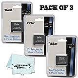 (PACK OF 3) Vivitar Rechargable Batteries For Camera GoPro HERO4 (replacement battery for GoPro AHDBT-401) 1650 mAh + 1 Micro Fiber Cloth