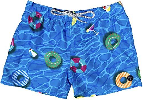 Official Molokai Mens Swim Trunks Quick Dry Elastic Waist Drawstring (Pool Floats, Medium)