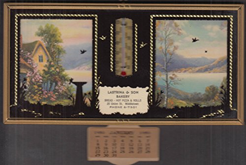 Lastrina & Son Bakery Middletown CT thermometer calendar 1950 bread pizza rolls