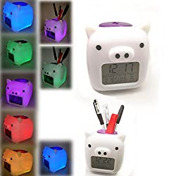 Glowing Digital Alarm Clock Pen holder 7-Color Changing Pig-shaped Alarm Clock with Snooze Music and Large Display-White