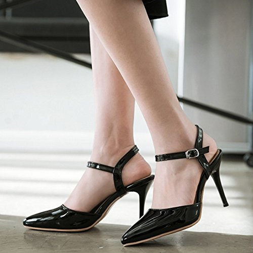 FANIMILA Mujer Moda Correa de Tobillopy Tacon de Aguja Verano Puntiagudo Heel Sandalias Zapatos Negro