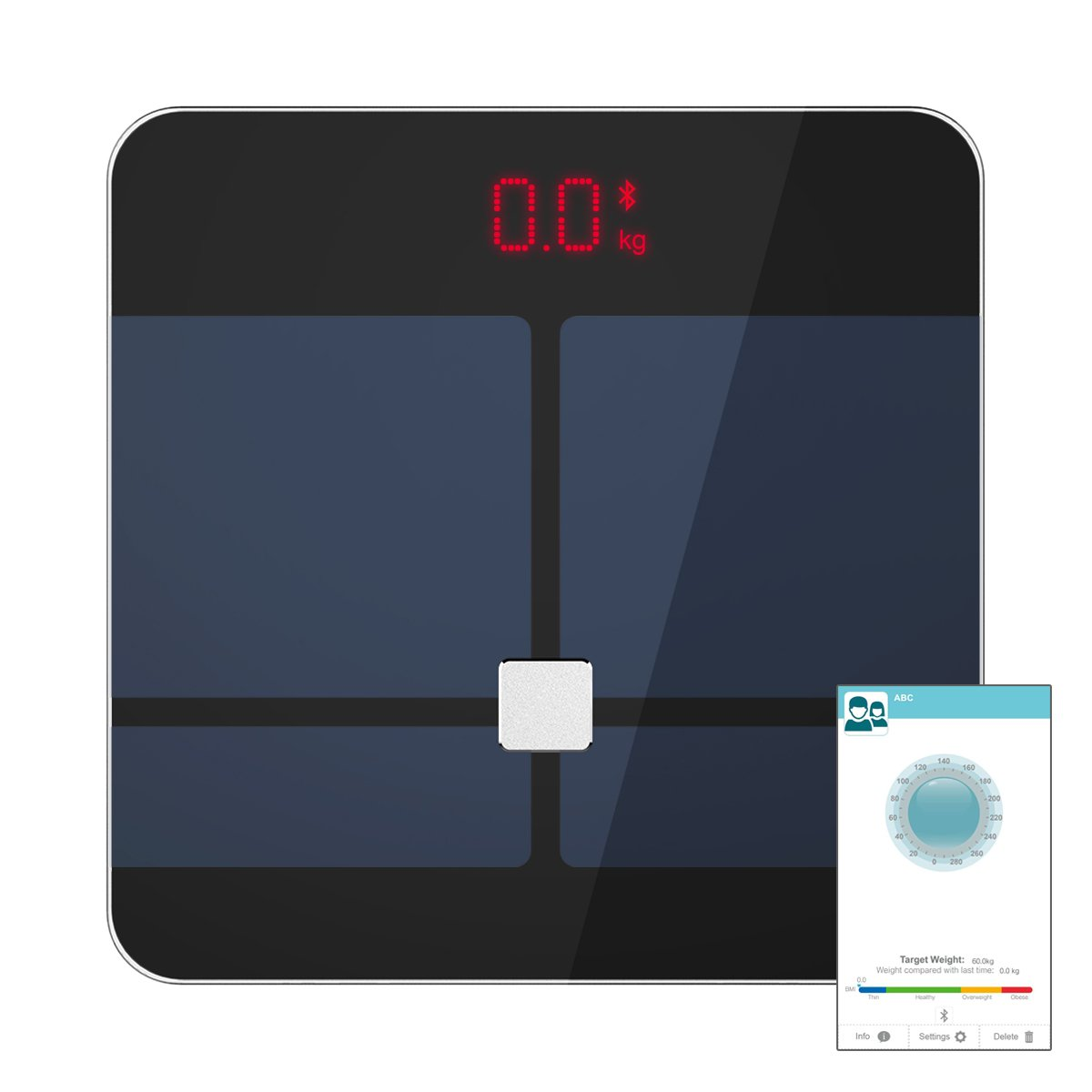 Aokayy S1 Bluetooth Digital Smart Wireless Body Fat Scale with IOS and Android App for Personal and Family Health Care