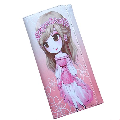 Price comparison product image Jimwikim Cartoon Long Leather Clutch Wallet Purse Card Holders Coin Pouches Handbag Money Clip for Teens Girls Kids Students