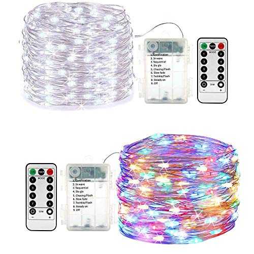 Lyhope 2 Pack Battery Fairy Lights, 16.4ft 50 LED Twinkle Christmas String Lights with Timer Remote Copper Wire Decorative Lights for DIY Home,Wedding,Valentine,Holiday,Party (Multicolor & Cool White) from LYHOPE