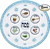 Seder Plate Passover Plate Melamine Floral Design Passover Seder Plates (12-Pack)