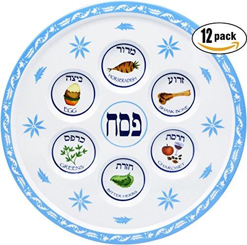 Seder Plate Passover Plate Melamine Floral Design Passover Seder Plates (12-Pack) by The Dreidel Company