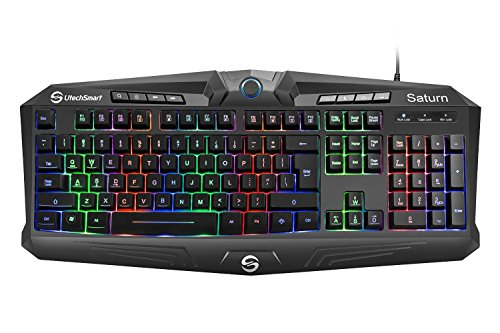 Gaming Keyboard, UtechSmart Saturn RGB Visual Effect Wired Gaming Keyboard with Rainbow LED Backlit