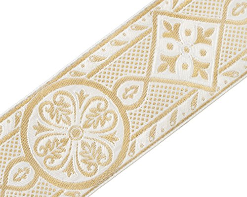 Ribbon Jacquard Trim White (White & Metallic Gold Medieval, Jacquard Trim for Chasuble Vestment 2 3/8
