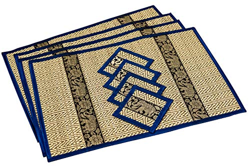 Easy Wipe Vinyl - Eco Friendly Handmade, Heat Resistant, Easy to wipe clean, Placemat Coaster 4 sets, 2 sizes Large Medium, Sustainable Kitchen craft Dining table mat natural reed material artisan (Large, Navy Blue)