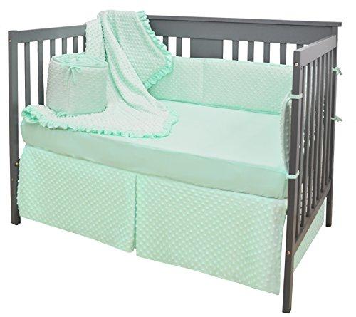 American Baby Company 4 Piece Heavenly Soft Crib Bedding Set, Minky Dot, Mint