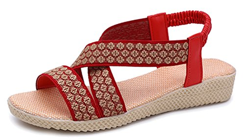 Femaroly Women's Sandals Summer Simple Flat Solid Elastic Roman Sandals for Women and Girls 2712Red 7.5M