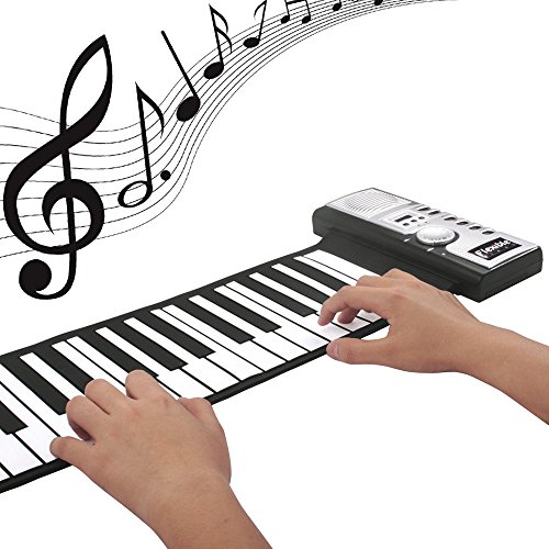 IDS Home Flexible Portable 61 Keys Foldable Electric Digital Roll-up Keyboard Piano for Adults and Children -Black (Best Digital Piano With Notes Holders)