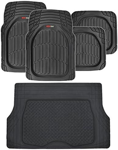 Motor Trend FlexTough Deep Dish Heavy Duty Rubber Floor Mats & Cargo Liner All Weather (Black) – Complete Coverage Set