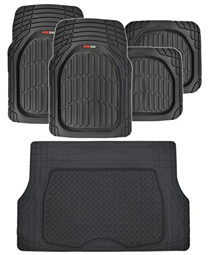 Motor Trend FlexTough Deep Dish Heavy Duty Rubber Floor Mats & Cargo Liner All Weather (Black) - Complete Coverage Set