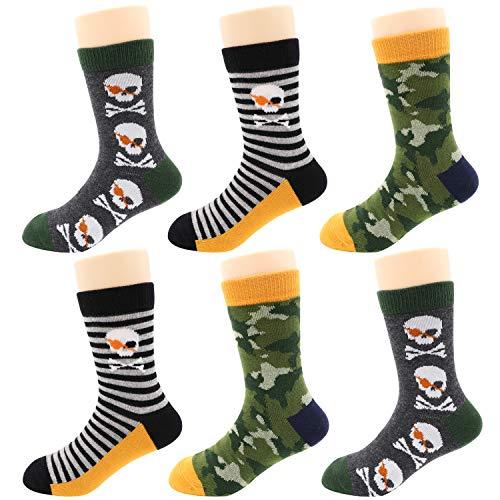 IMOZY Crew Socks for Boys- Camouflage Skull Cotton Socks- 6 Pack Boys' Novelty Dress & Trouser Socks- Size 2-3Years/ Shoe Size 6.5-10 for Toddlers