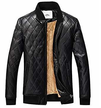 shinianlaile Men's Winter Warm Faux Leather Coat Jacket