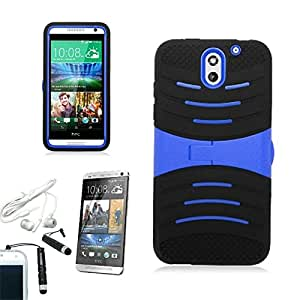[ARENA] BLACK BLUE HYBRID WAVE STAND COVER HARD GEL CASE for HTC DESIRE 610 + FREE ARENA ACCESSORIES