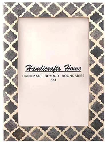 Handicrafts Home 4x6 Picture Photo Frame Moorish Damask Moroccan Art Inspired Vintage Wall Décor Gift Frames [4x6 GREY]