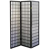 Black Asian Furniture Style Screen Room Decor 3-Panel Divider