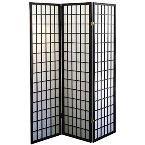 Black Asian Furniture Style Screen Room Decor 3-Panel Divider by Furniture