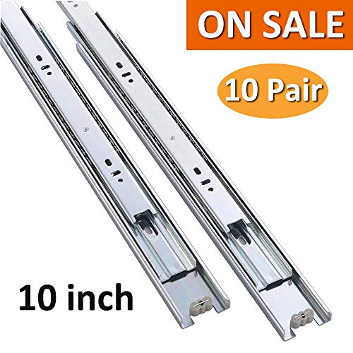 "Cuaulans 10 Pair 10"" Full Extension Side Mount Ball Bearing Sliding Drawer Slides, Mounting Screws Included, Available in 10'', 12'', 14'', 16'', 18'', 20'' and 22"