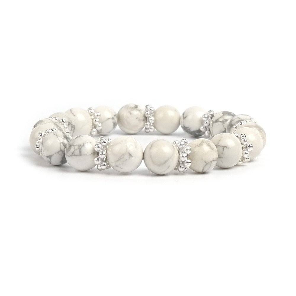 Bracelet Women Mala Beads Chakra Howlite Charm Boho Meditation Gemstone Buddhist Fashion by Shinus (Image #1)