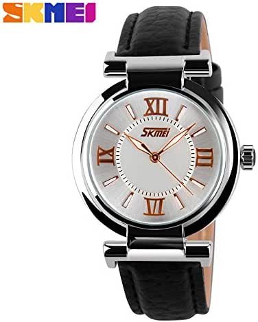 Girl's Fashion Genuine Leather Band Quartz Watch Black