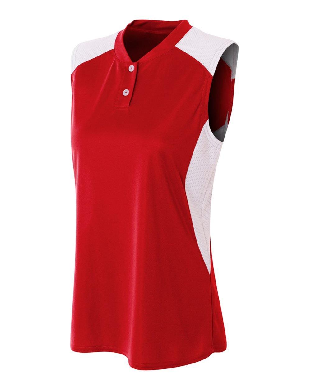 レディースノースリーブ2ボタンMoisture Wicking 2色アスレチックシャツ/ Uniform Jersey Top B01IC9PAUK Women's M レッド/ホワイト レッド/ホワイト Women's M